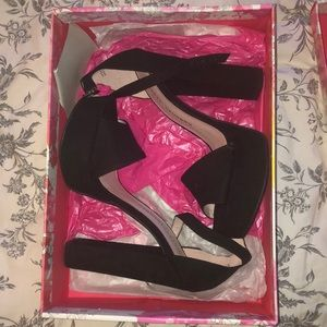 Black chunky suede platform high heels